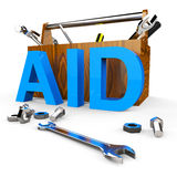 Aid Word Shows Assist Aiding And Donations Royalty Free Stock Image