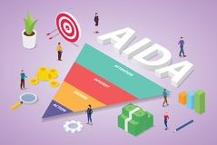 Aida acronym of attention interest desire action business word with team people business with isometric modern flat style - vector royalty free illustration