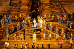 Aida at arena of Verona. Aida evening debut at the Arena di Verona in July 2010. Scene of the first act before the investiture of Radames as commander in chief stock photo