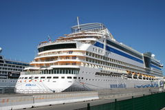 AIDA Cruise Ship. Back with cabins of AIDA Diva Cruiseliner in the port of Palermo, Sicily, Italy. Famous German Cruise Liner Stock Image
