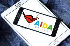 AIDA Cruises logo. Logo of AIDA Cruises company on samsung mobile. AIDA Cruises is an American/British owned German cruise line based in Rostock, Germany. AIDA Stock Image
