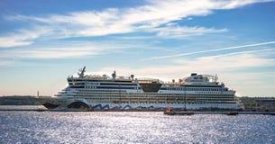 AIDA DIVA docked at the port of Tallinn, Estonia. TALLINN, ESTONIA - Cruise liner AIDA Diva docked at the port of Tallinn, personnel prepares it for the next Royalty Free Stock Photography