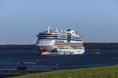 AIDA Dive Cruise Ship in Bar Harbor, USA, 2015. The cruise ship AIDA Diva with it's characteristic logo of lips and eyes on both sides of the ship in the bay of Stock Image