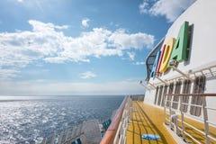 AIDA logo at the funnel of cruise ship AIDAsol Stock Photo