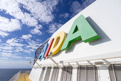 AIDA logo at the funnel of cruise ship AIDAsol Stock Photography