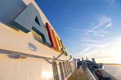 AIDA logo at the funnel of cruise ship AIDAsol Royalty Free Stock Photos