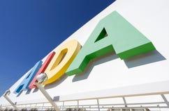 AIDA logo at the funnel of cruise ship AIDAsol Stock Photos