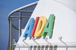 AIDA logo at the funnel of cruise ship AIDAsol Royalty Free Stock Photo