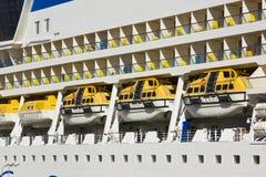 Aida passenger ship life boats. Beside great vessle Royalty Free Stock Photography