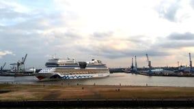 AIDA ship turning in port of Hamburg stock video footage