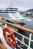AIDAluna seen from AIDAsol in Bergen, Norway stock photos