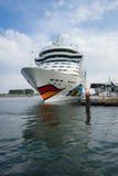 AIDAmar at berth Warnemunde. ROSTOCK, GERMANY - AUGUST 02, 2014: AIDAmar at berth Warnemunde. AIDAmar is a Sphinx class cruise ship, length 253 m, capacity of Stock Photo