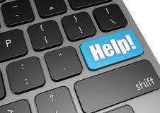Aide avec le clavier noir Photos libres de droits
