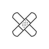 Aide de bande, ligne adhésive icône, signe de vecteur d'ensemble, pictogramme linéaire de bandage de style d'isolement sur le bla Images libres de droits