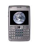 Aide digital personnel avec l'image de la terre de la NASA photos libres de droits