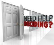 Aide du besoin décidant beaucoup de choix de mots de portes Images stock