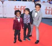 Aiden Akpan, Callan法里斯和雷切Cody `国王在多伦多国际电影节的`首放在多伦多TIFF17 免版税库存照片