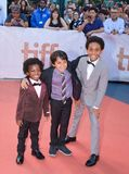 Aiden Akpan, Callan Farris, and Reece Cody attend `Kings` premiere at Toronto international film festival in Toronto TIFF17 Stock Images
