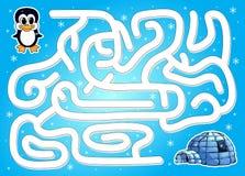 Aidez le pingouin à trouver le chemin vers l'igloo dans un labyrinthe d'hiver Photo libre de droits