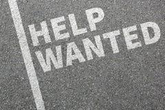 Aidez les travaux voulus, employé travaillant de recrutement de publicité de travail Image libre de droits