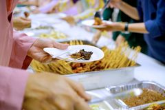 Aidilfitri festival. Food Catering Cuisine Culinary Gourmet Buffet Party Concept stock images