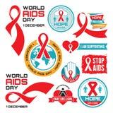 AIDS - διανυσματική συλλογή διακριτικών Παγκόσμια Ημέρα κατά του AIDS - 1 Δεκεμβρίου Απεικόνιση αποθεμάτων