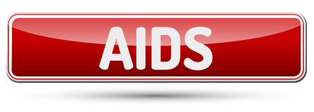 AIDS - Abstract beautiful button with text. Royalty Free Stock Images