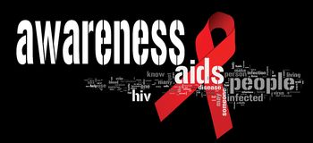 AIDS awareness. Ribbon with related keywords royalty free illustration