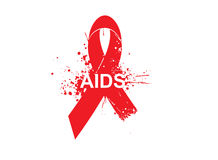 Aids awareness background with red ribbon Royalty Free Stock Images