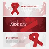 Aids awareness banners with red ribbon. Vector illustration. Banner December 1 World Day Aid to fight AIDS, red ribbon. The concept of assistance. Vector Stock Image