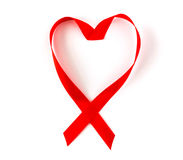 Aids Awareness Red heart Ribbon isolated on white Stock Images