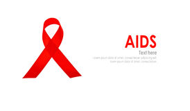 Aids Awareness Red heart Ribbon isolated on white background . Royalty Free Stock Image