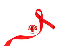 Aids Awareness Red heart Ribbon isolated on white background . Stock Images