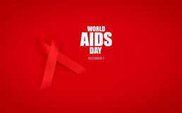 Aids Awareness Red heart Ribbon on red background . Stock Photo