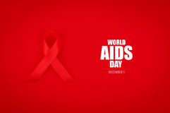 Aids Awareness Red heart Ribbon on red background . Royalty Free Stock Photo