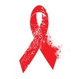 Aids awareness red ribbon symbol with grunge Royalty Free Stock Photos