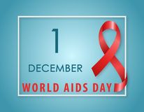 AIDS Awareness symbol Red ribbon. AIDS Awareness symbol. Red ribbon with text 1st December World AIDS Day on blue background. Vector illustration stock illustration
