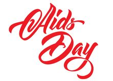 Aids Day hand lettering. Red ribbons calligraphy vector illustration