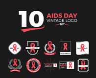 10 Aids Day Vintage logo set. WORLD AIDS DAY - vector badges. Logo icons set. Stop signs set. Red ribbons. World day 1 December. HIV & STI. Acquired Immune Stock Image