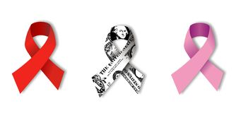 Aids, Dollar and Cancer Ribbons on white. Aids and Breast Cancer Ribbons with a textured dollar ribbon between them. concept of equal rights to health care Royalty Free Stock Image