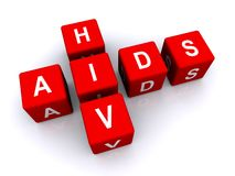 Aids HIV. Sign in red 3d cubes isolated on white background Stock Photos