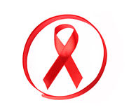 Aids hiv awareness ribbon. Isolated aids awareness ribbon in the circle stock image