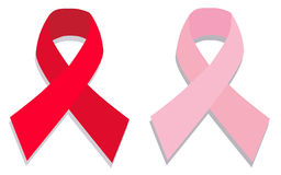Aids and pink breast cancer ribbon Royalty Free Stock Image