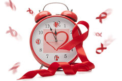 Aids Ribbon and Clock Royalty Free Stock Photo