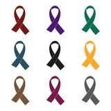 AIDS ribbon icon in black style isolated on white background. Drugs symbol stock vector illustration. Royalty Free Stock Photo