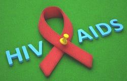 AIDS rosso del nastro Immagini Stock Libere da Diritti