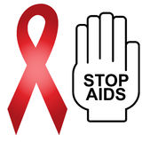 Aids Sign Red Ribbon Royalty Free Stock Photos
