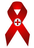 Aids symbol. With red cross in white background eps Royalty Free Stock Photo