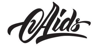 Aids-Tageshandbeschriftung Schwarze Kalligraphie vektor abbildung