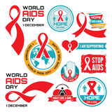 AIDS - vector badges collection. World AIDS day - 1 December. Royalty Free Stock Image